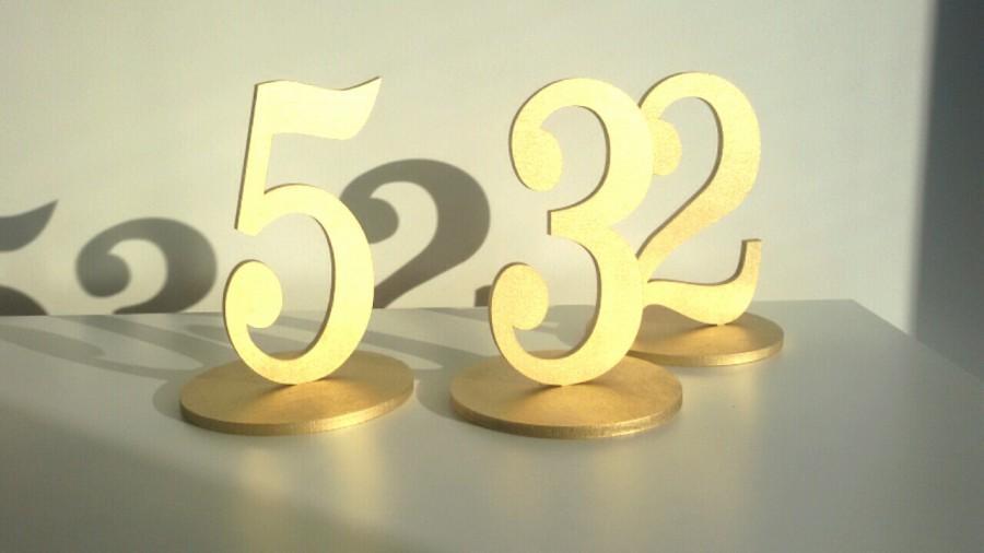 Wedding - 1-5 Freestanding table numbers. Wedding table numbers. Gold numbers.