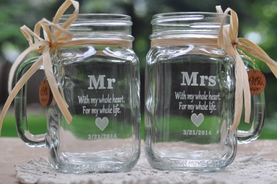 Mariage - Mr and Mrs Sweetheart Table Mason Jars - Heart - Choose Handle Directions