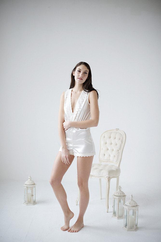 Mariage - Romper, bridal romper, lace romper, bridal loungewear, honeymoon loungewear - Antheia