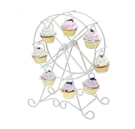 Mariage - European Style Wedding Party Furnishing Accessories Dessert Serving Tray White Iron Ferris Wheel 8 Cupcakes Display Stands Cakes Holder
