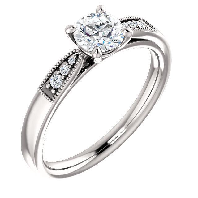 Свадьба - 1/2 ct 5mm Round  Forever Brilliant Moissanite Engagement Ring in 14K White Gold  - ST233406-1040