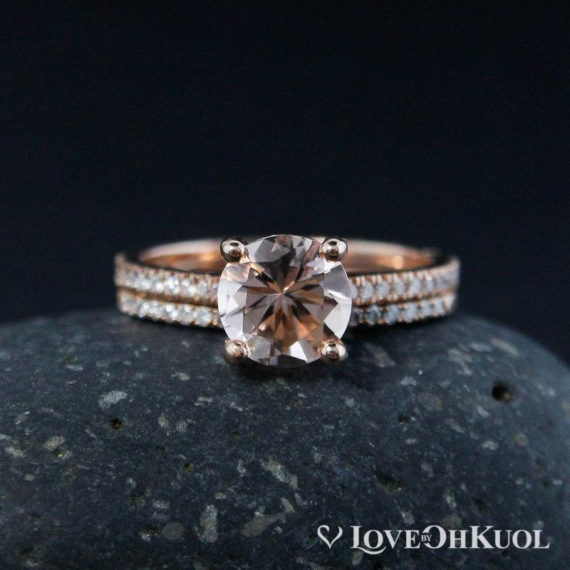 Свадьба - Morganite Engagement Ring and Half-Eternity Wedding Band Set
