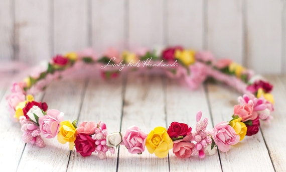 Mariage - Colorful flower crown, Wedding flower head piece, Multicolor flower hair accessory, Bright flower headband, garden wedding, Pink and yellow