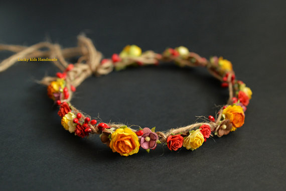 Düğün - Fall rustic wedding crown - Autumn halo - Thanksgiving flower crown -Woodland floral crown - Autumn Wedding - Fall hair wreath - Fall halo