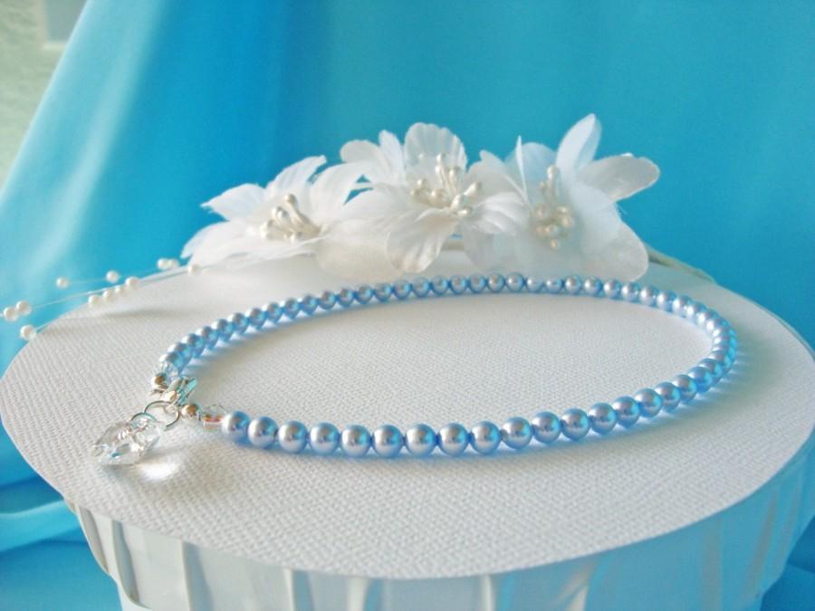 Mariage - Something Blue Anklet Pearl Wedding Jewelry Ankle Bracelet Swarovski