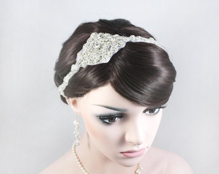 Mariage - JULIA - The Great Gatsby Inspired Crystal Bridal Headband, 1920s and 1930s Headpiece, Wedding Rhinestone Head band, Bridal Headpiece