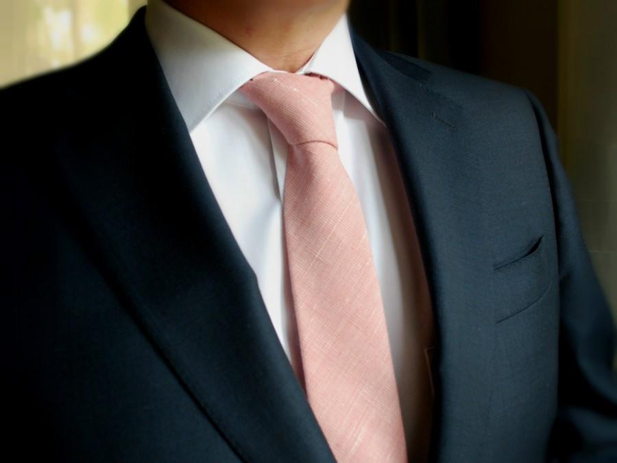 Mariage - Blush Linen Necktie -Chambray Linen Necktie -Wedding Neckties- Groom's Necktie