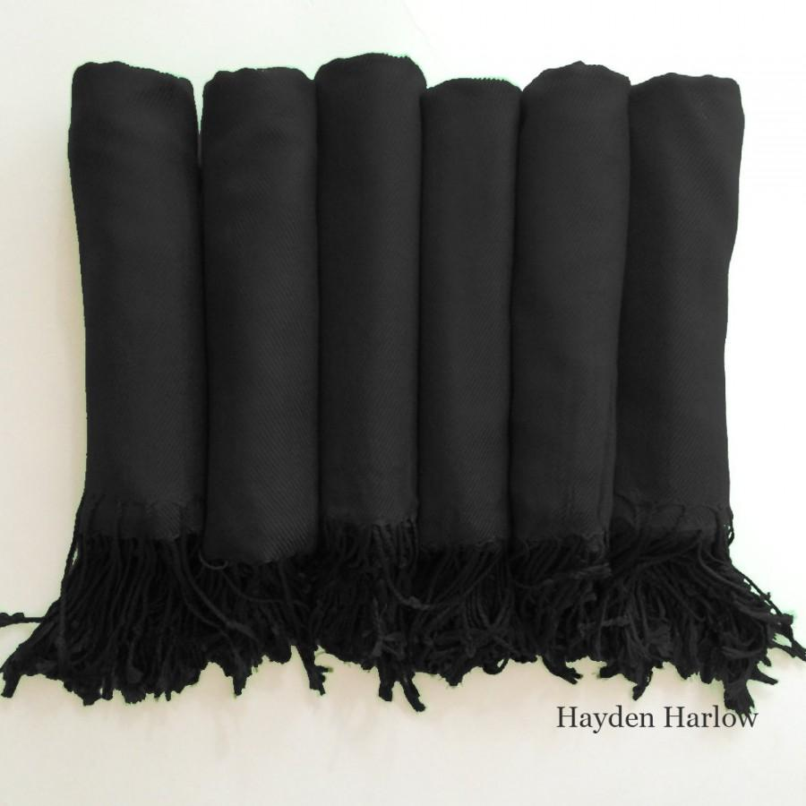 Свадьба - Pashmina shawl in Midnight Black - Bridesmaid Gift, Wedding Favor - Monogrammable