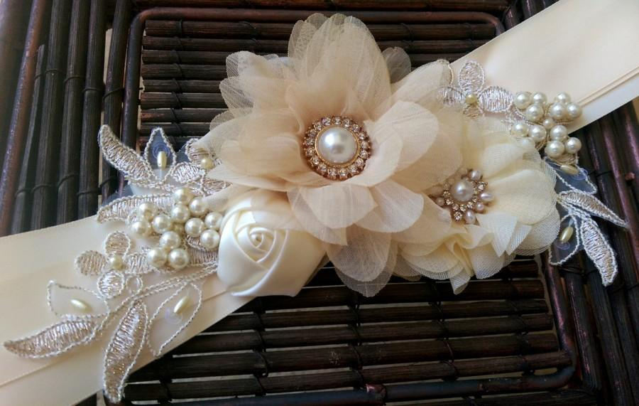 Hochzeit - Champagne, Ivory, and Gold Bridal Sash Belt With Fabric Flowers, Lace, Pearls, Vintage Style Button - Lace Bridal Sash