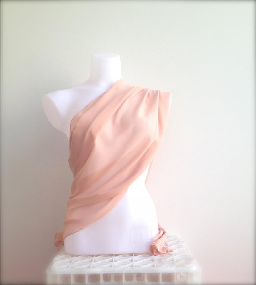 Свадьба - Peach Beige Wedding Shawl, Nude Tan Bridal Shawl, Blush Chiffon Scarf, Sheer Stole, Peachy Shawl, Bridesmaids Gift, Evening Shoulder Wrap