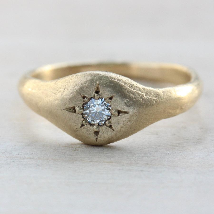 Свадьба - Unique Alternative Diamond Engagement Ring - 3mm Diamond Small Signet Ring - Ancient Texture Star Bead Setting - Gold or Palladium Recycled