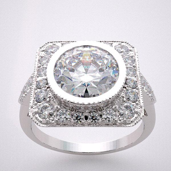 Свадьба - Engagement Ring Setting Antique Style Diamond Halo Accents