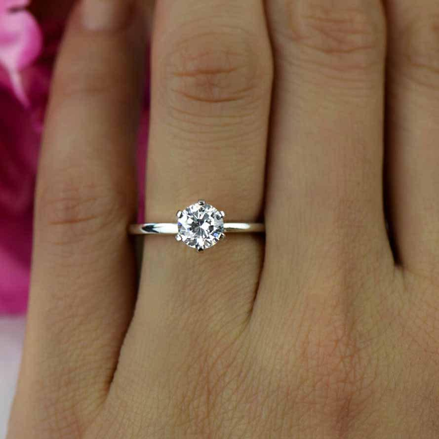 Size 6 75 1 Ct 14k White Gold Ring 6 Prong Solitaire Ring