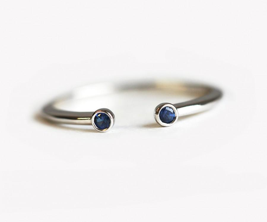 Mariage - Open Sapphire Ring, Sapphire Stacking Ring, Horseshoe ring, Dainty Wedding Band, Stacking Wedding Band, Open Wedding Band