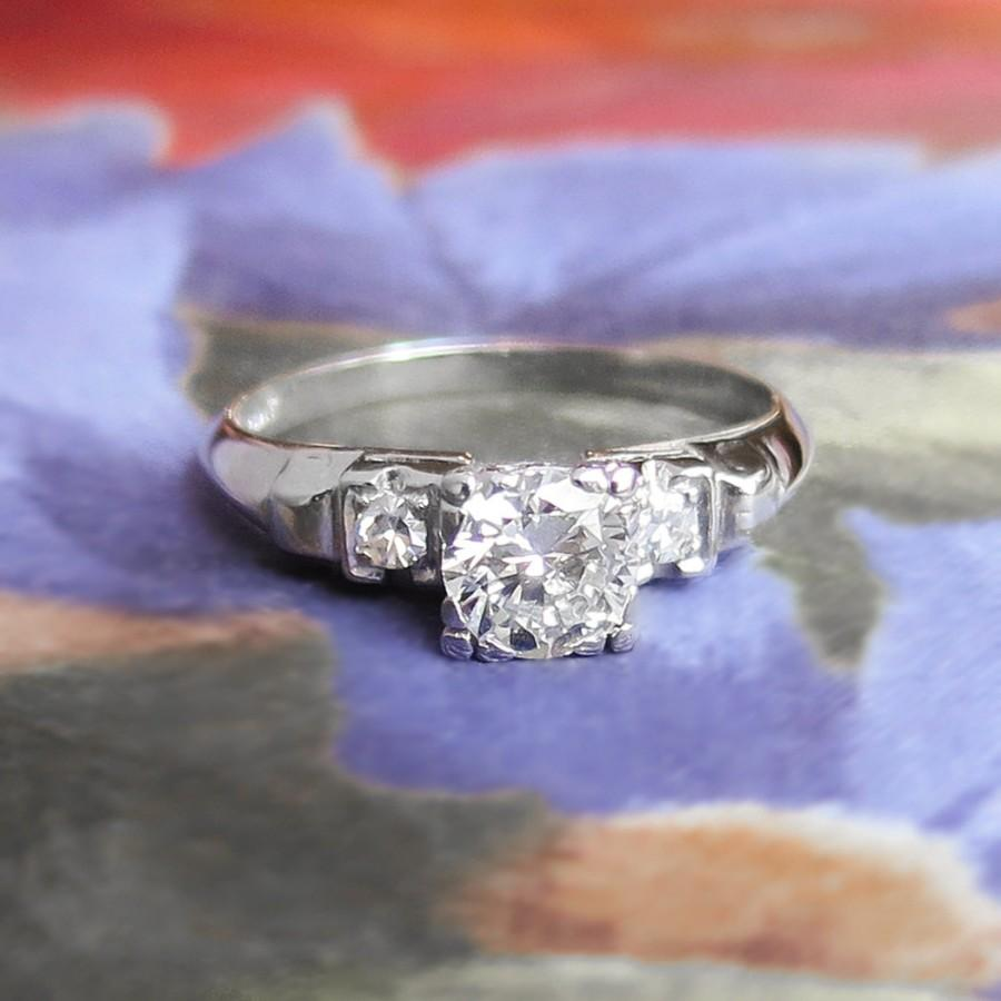 Mariage - Vintage Retro 1940's Old Transitional Cut Diamond Engagement Wedding Anniversary Ring Platinum