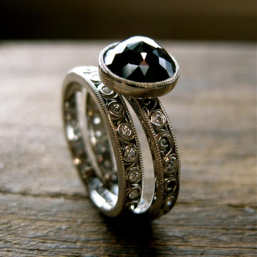 Mariage - Black Diamond Engagement Ring & Diamond Wedding Band in Palladium with Scroll Work Size 7