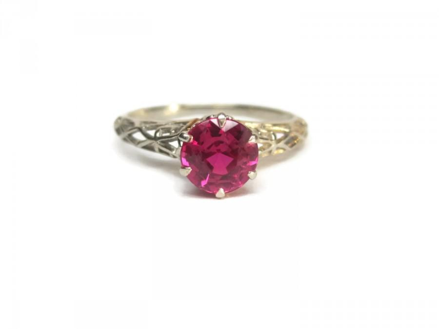Mariage - Vintage 1930s White Gold Filigree 1 Carat 14k Ruby Engagement Ring Size 8 Deakin & Francis