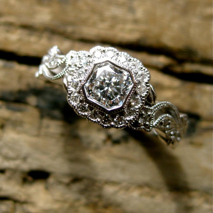 Mariage - Exquisite Radiant Cut Diamond Engagement Ring in 14K White Gold with Leafs on Vine Design Size 7