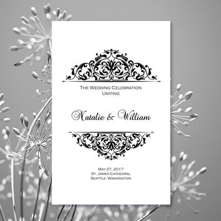 black white wedding ceremony program template grace printable