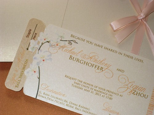 Mariage - Boarding Pass Invitation DEPOSIT: Champagne Orchid Design