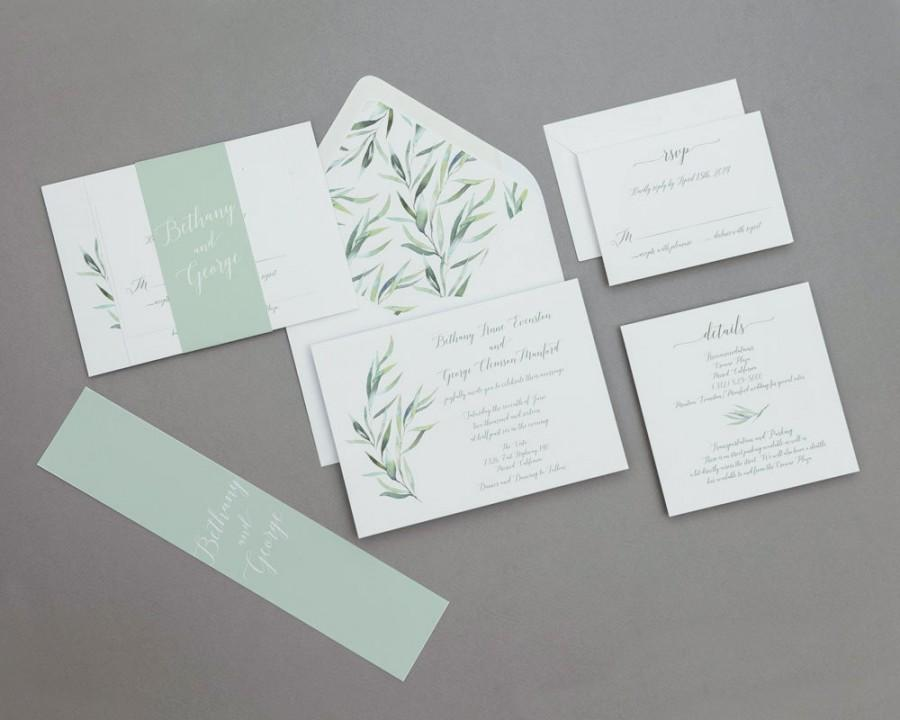 Mariage - Calligraphy Wedding Invitations Set ,Modern Greenery Wedding Invitation,Eucalyptus Wedding Invites,Modern Greenery Spring Wedding Invitation