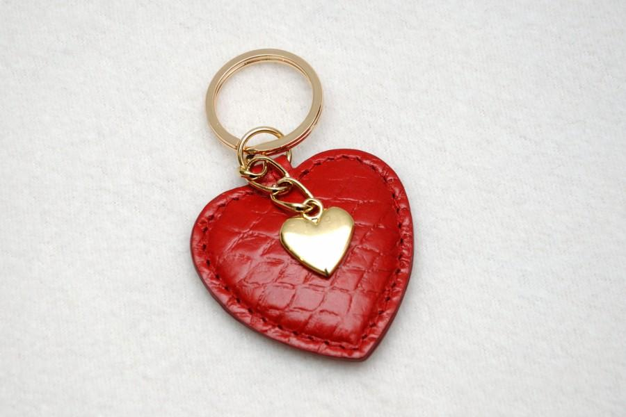 Red Keyring Red Heart Womens Key Chain Leather Keychain Leather Key