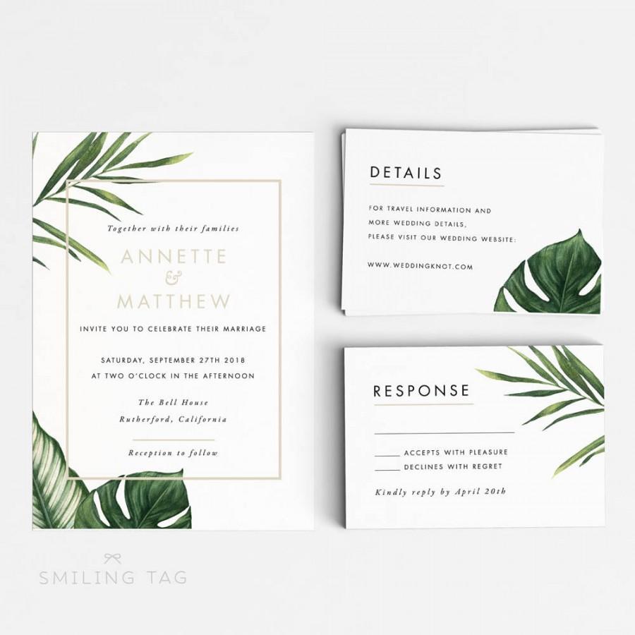 Printable Wedding Invitation Printable Set   Modern Tropical Foliage Wedding  Invites  Ready To Print PDF  Letter A4 Size (Item Code: P347)