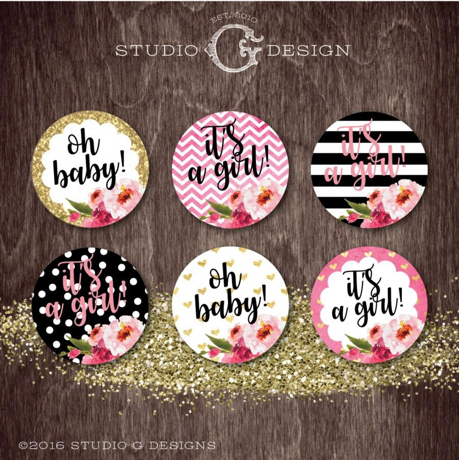 Mariage - Black Stripe Gold Glitter Floral Kate CUPCAKE TOPPERS Baby Shower Birthday Party  --  Digital Printable File