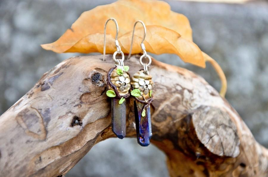 Wedding - Bright shiny RAINBOW TITANIUM mineral crystal EARRINGS nature leaves flowers