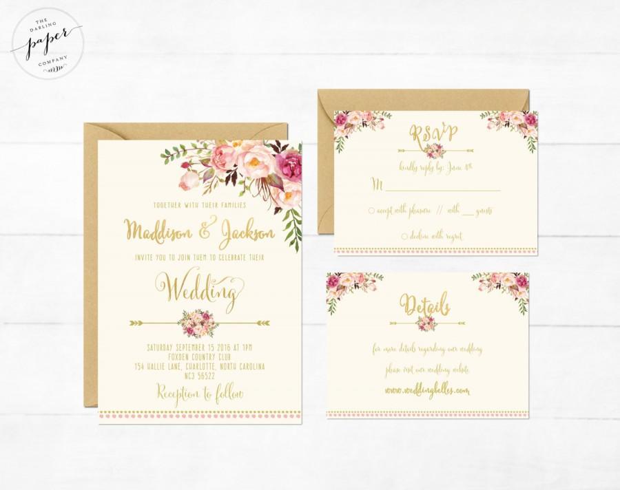 Mariage - Floral Wedding Invitation Printable Wedding Invitation Suite Rustic Wedding Invite Boho Wedding Invite Peonies Wedding Invite Boho Set