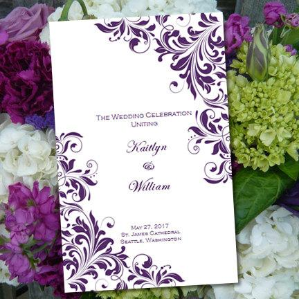"Mariage - Catholic Church Wedding Program ""Kaitlyn"" Purple 8.5 x 11 Fold Word.doc Template Instant Download ALL COLORS Available DIY U Print"