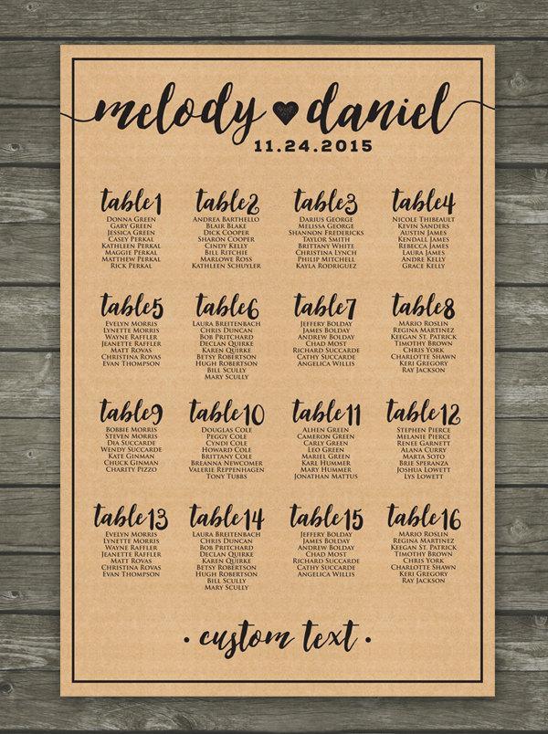 زفاف - Kraft Paper Wedding Seating Chart Printable / Printable Kraft, Country, Wedding Seating Seating Chart / Alphabetical Kraft Seating Chart
