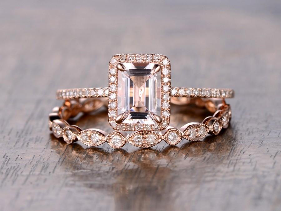 Свадьба - 6x8mm Emerald Cut Morganite Engagement Ring Morganite Wedding Ring Set and Art Deco Wedding Band Full Eternity 14K Rose Gold Bridal Rings