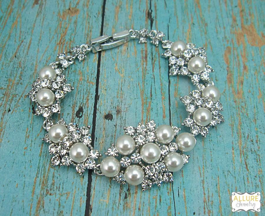 Mariage - Bridal bracelet, ivory wedding bracelet, rhinestone pearl bracelet, crystal ivory white pearl bracelet, bridal jewelry, wedding 208025827