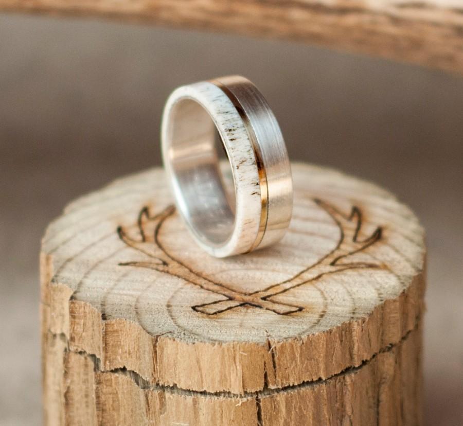 Mariage - Mens Wedding Band Elk Antler Ring w/ 10K Gold Inlay - Staghead Designs