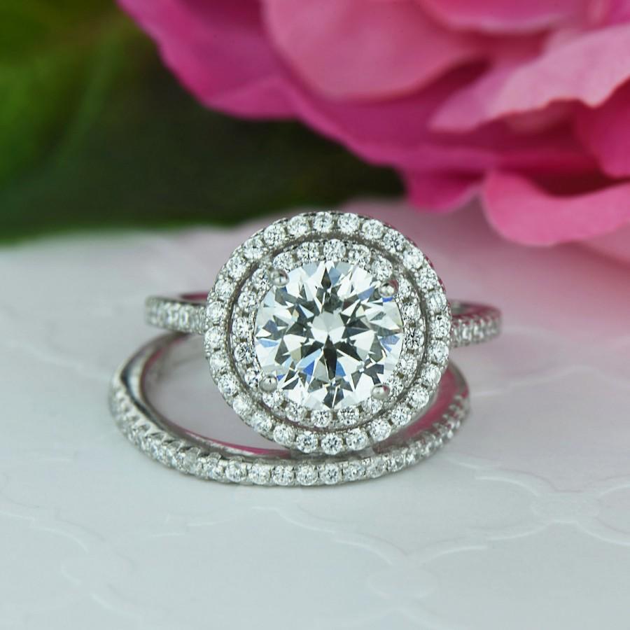 Mariage - 2.5 ctw Double Halo Ring, Wedding Set, Round Engagement Ring, Man Made Diamond Simulants, Bridal Set, Half Eternity Ring, Sterling Silver