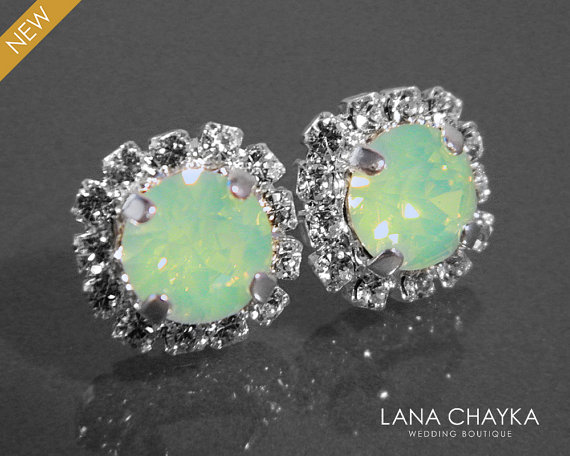 Hochzeit - Chrysolite Green Opal Crystal Halo Earrings Swarovski Chrysolite Rhinestone Studs Light Green Bridesmaids Earrings Green Opal Halo Earrings