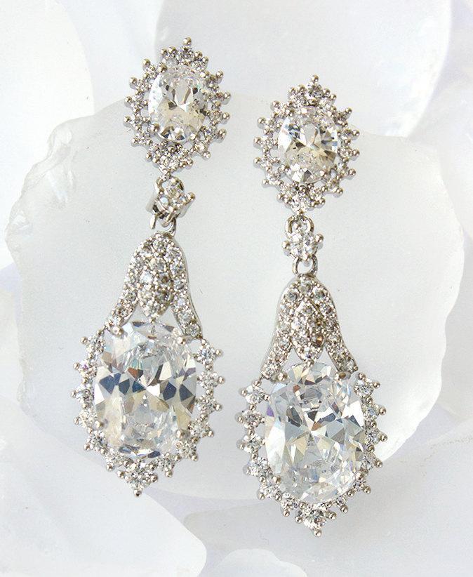 Mariage - White Gold Bridal Earrings Bridesmaid Earrings Swarovski Earrings Cubic Zirconia Tear Drop Earrings Sterling Silver E265-S