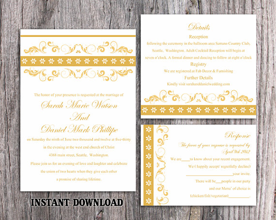 Hochzeit - DIY Wedding Invitation Template Set Editable Word File Instant Download Printable Invitation Floral Wedding Invitation Gold Invitations