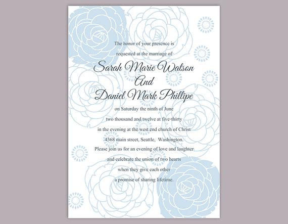 Wedding - DIY Wedding Invitation Template Editable Word File Instant Download Printable Invitation Blue Invitation Flower invitation Rose invitation