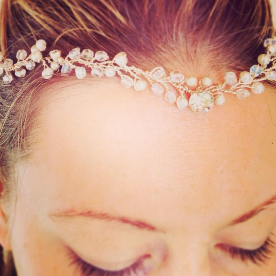 """Hochzeit - Made To Order """"Kathryn"""" Bridal Hairpeice Hair Accessory Wedding Forehead Hairband by Daisy Chains Collection"""