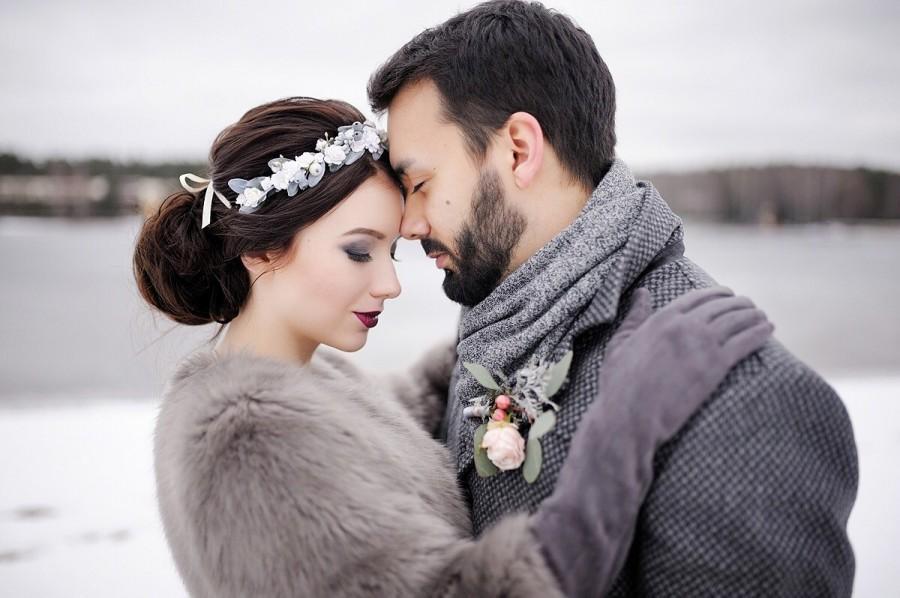 Mariage - Winter wedding, Bridal floral crown, Rustic wedding, Bridal flower crown, Woodland wedding, flower crown, floral crown, Green leaf crown