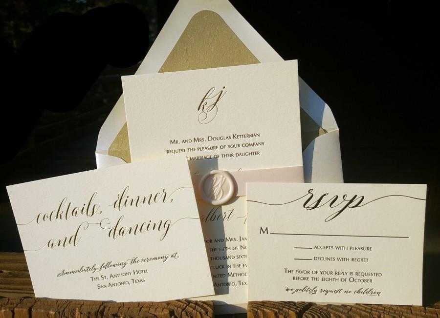 Gold Foil And Black Letterpress Wedding Invitation Suite With Custom ...