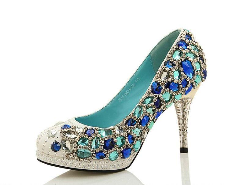 Hochzeit - Four Colors Handmade Rhinestone High Heels Pointed Toe Crystal Wedding Shoes, S028