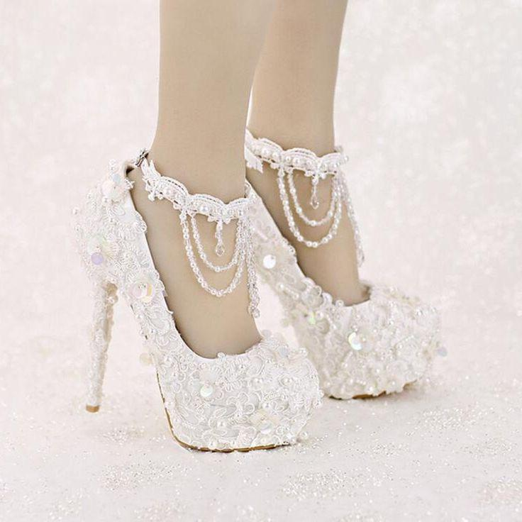 7049a29a4cfe3 White Platform Bridal Shoes, Sequined Lace Bridal Shoes, High Heel ...