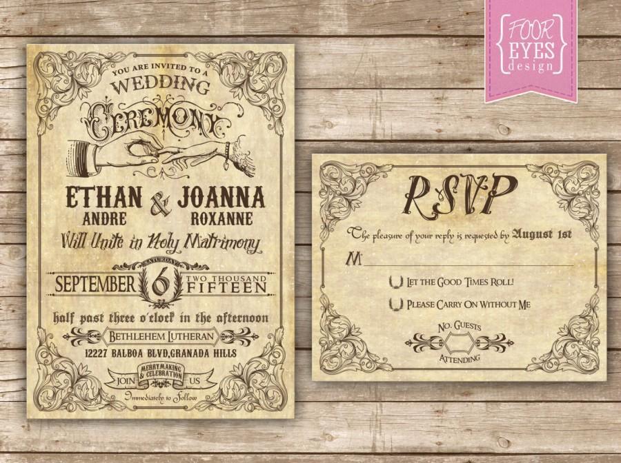 Свадьба - Vaudeville Wedding Collection (Invitation and RSVP) - Customized for DIY Printing