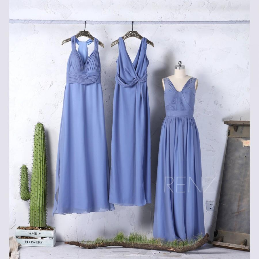 Mariage - 2017 Mix Match Steel Blue Bridesmaid Dress, Sexy V Neck Wedding Dress, Ruched Bodice Prom Dress, Long Maxi Dress Floor (F079/F342/F253)