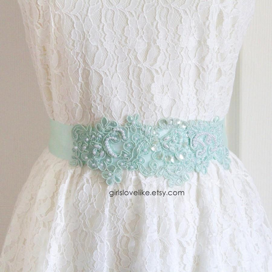 Mint Green Hand Dye Alencon Lace With White Pearl Beading Sash Belt ...