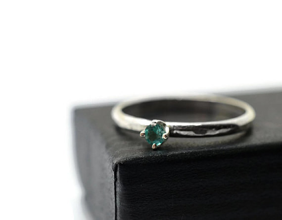 Mariage - 3mm Apatite Engagement Ring, Natural Aqua Gemstone, Simple Silver Band, Minimalist Dress Jewelry
