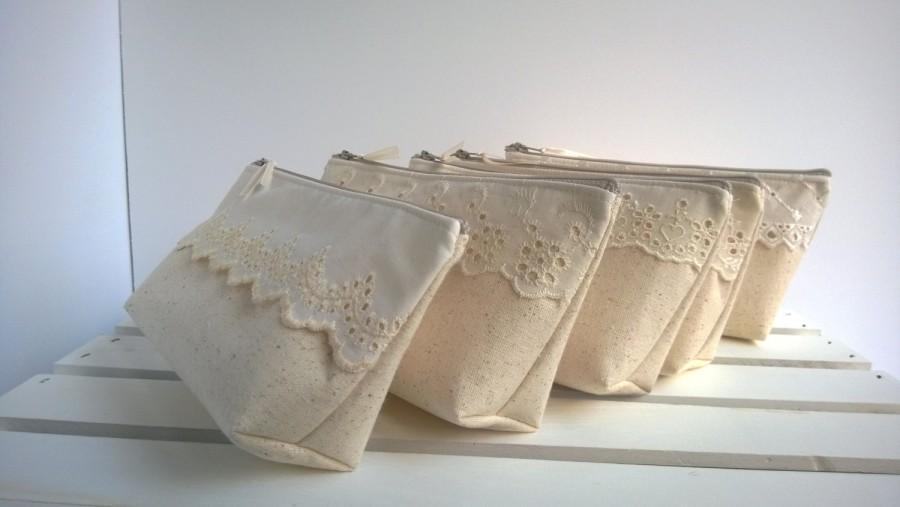 Hochzeit - Lace Bridesmaid Clutches, Fall Wedding Bridesmaid Clutch Purse, Cotton, Lace, Bridesmaids Gift, Wedding - Set of 7